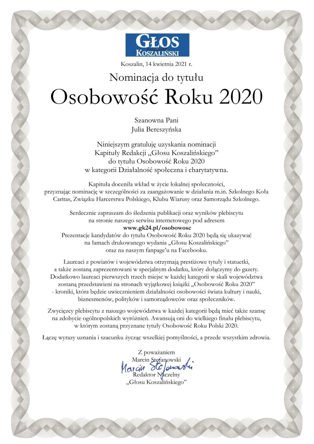 Osobowość roku J.Bereszyńska